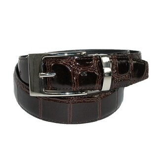 CTM® Big & Tall Leather Croc Print Dress Belt with Clamp On Buckle