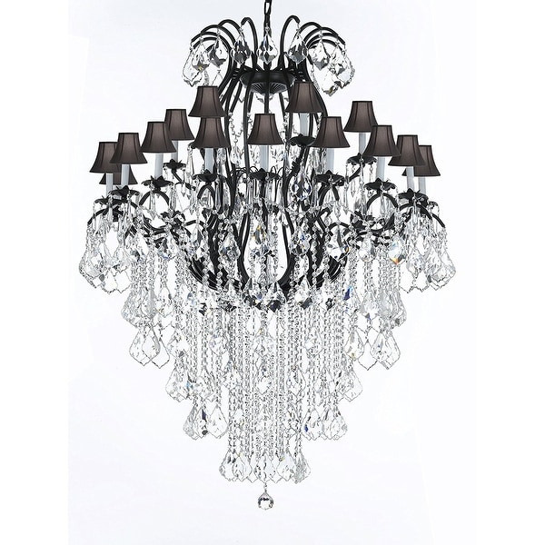 Wrought Iron Empress Crystal (TM) Chandelier Lighting With Black Shades