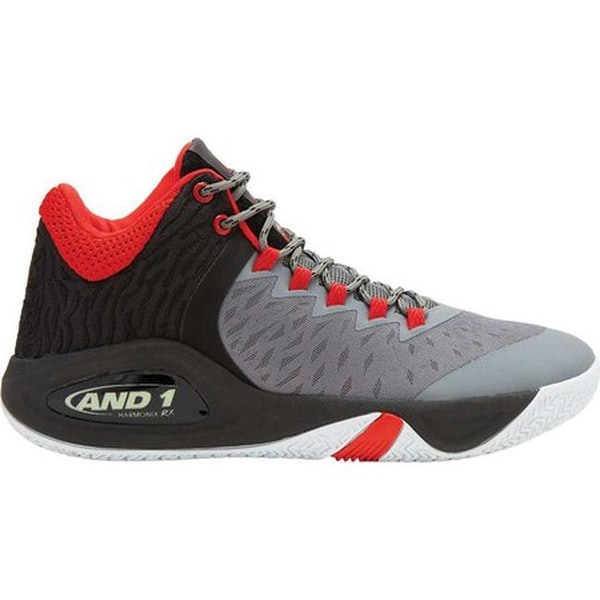 dba9bfd1ea7 Shop AND1 Men s Attack Mid Basketball Shoe Grey Black Red - On Sale ...