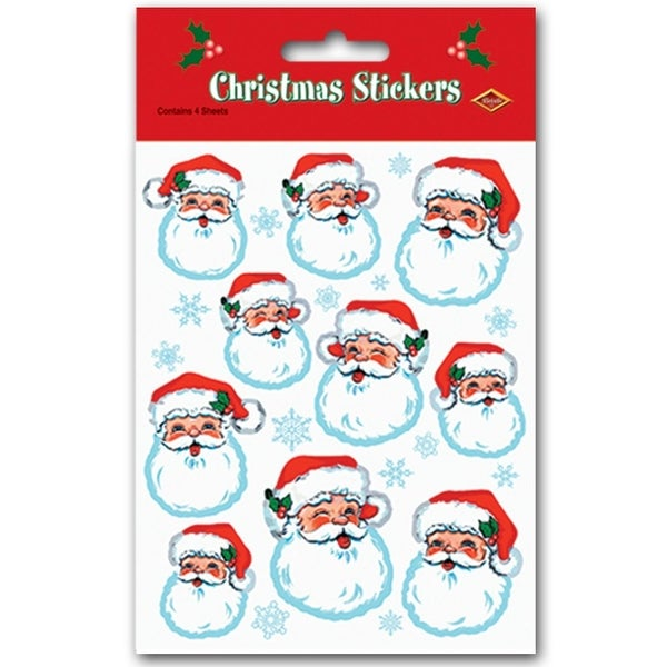 "Club Pack of 48 Santa Claus Face Christmas Stickers 7.5"" x 4.75"" - RED"
