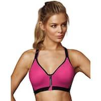 Maidenform Sport Secure Zip™ Front Underwire Racerback - Size - 40D - Color - Pinksickle/Black