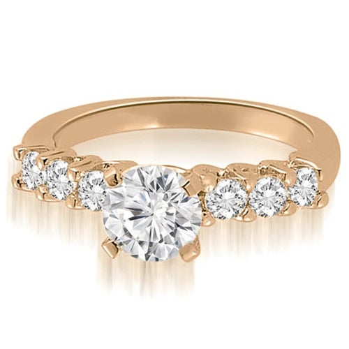 1.10 cttw. 14K Rose Gold Classic Round Cut Diamond Engagement Ring