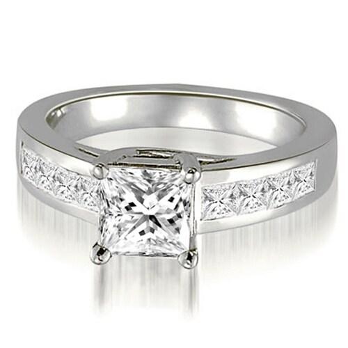 1.00 cttw. 14K White Gold Trellis Princess Cut Diamond Engagement Ring