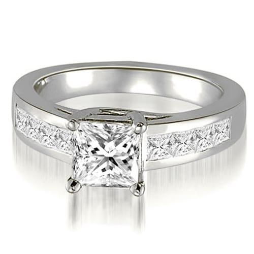1.25 cttw. 14K White Gold Trellis Princess Cut Diamond Engagement Ring