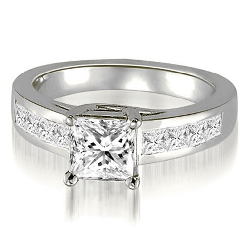 1.50 cttw. 14K White Gold Trellis Princess Cut Diamond Engagement Ring