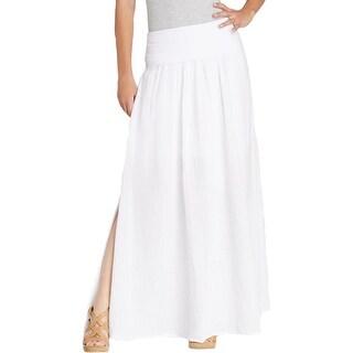 Three Dots Womens Maxi Skirt Cotton Side Slit