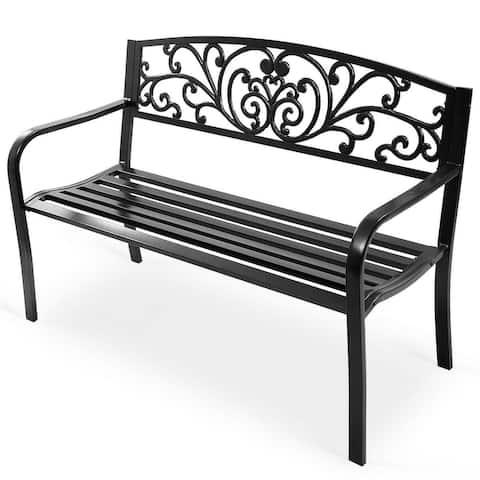 Costway 50'' Patio Park Garden Bench Porch Chair Steel Frame Cast Iron