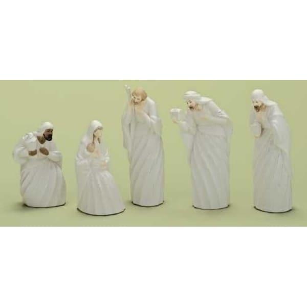 5pc Good Tidings Holy Family & Wise Men Porcelain Christmas Nativity Figure Set