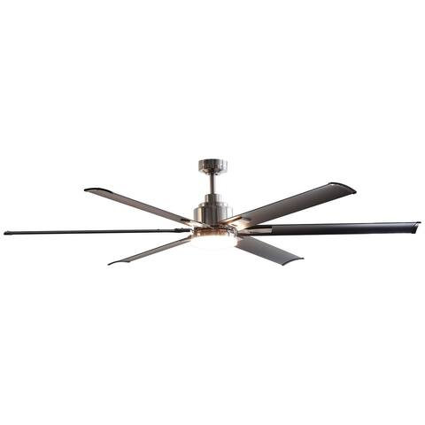 72 in. 6-Blade Brushed Chrome Ceiling Fan with Remote Control - 72-in