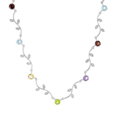 """Sterling Silver Multi-Gemstones Station Leaf Necklace 16.5"""""""