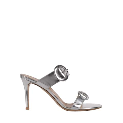 Gianvito Rossi Womens Silver Metallic Double Band Mule Sandals