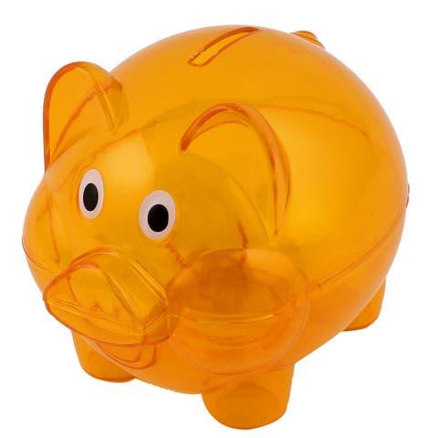 "Clear Orange Piggy Bank Coin Money Cash Saver Savings Pig Toy Safe Box - Clear Orange - 5"" x 4"" x 4""(L*W*H)"