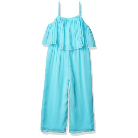 Amy Byer Girls Jumpsuits Blue Size 16 Off-Shoulder Pleated Popover