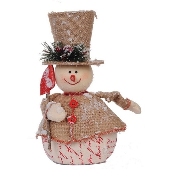 """13.5"""" Country Cabin Jolly Snowman with Shovel Christmas Table Top Decoration - brown"""