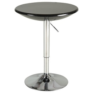 Link to HOMCOM Round Cocktail Bar Table Metal Base Tall Bistro Pub Desk Adjustable Counter Height Black Silver Similar Items in Patio Furniture