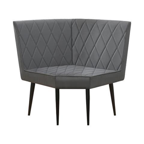 Corinne Grey Upholstered Corner Bench