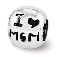 Sterling Silver Reflections I Heart Mom Bead (4mm Diameter Hole)