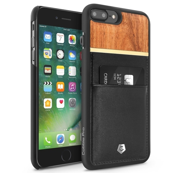 CobblePro Black/ Brown Leather Bamboo wood with Wallet Flap Pouch For Apple iPhone 7 Plus
