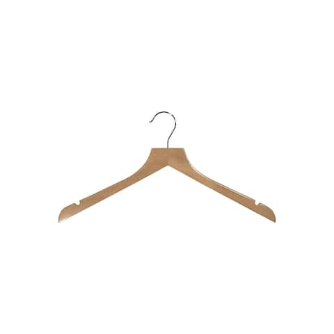 """Natural Wooden Top Hanger with Notches 17"""" Length x 7/16"""" Thick, Chrome Hook Box of 25"""