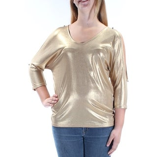 Womens Gold Dolman Sleeve Scoop Neck Top Size M