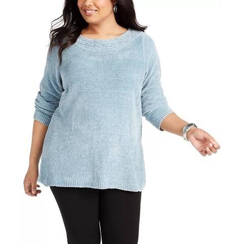 Karen Scott Women's Boat Neck Chenille Sweater Blue Size 1X