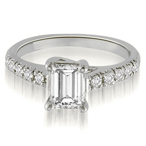 0.70ct.tw Antique 14K White Gold Petite Emerald And Round Cut Diamond Engagement Ring