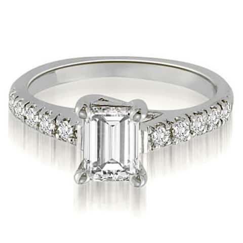 14K White Gold 0.70 CT Antique Petite Emerald & Round Diamond Engagement Ring