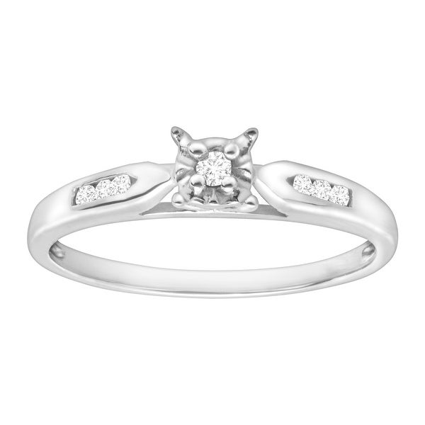 Solitaire Ring with Diamond Accents in 10K White Gold