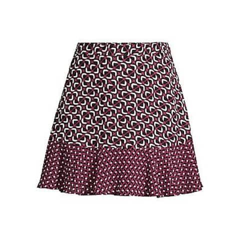 MICHAEL KORS Womens Purple Geometric Mini A-Line Skirt Size 14