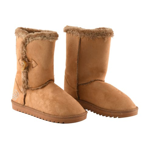 GURU Womens Winter Fluffy Boots with Toggle Closure in Honey Size 38