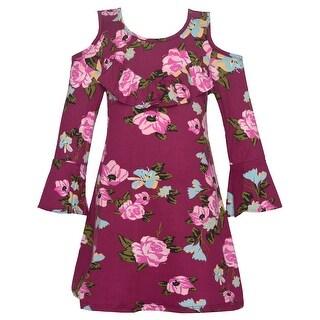 Little Girls Burgundy Cold Shoulder Long Sleeve Floral Trendy Dress