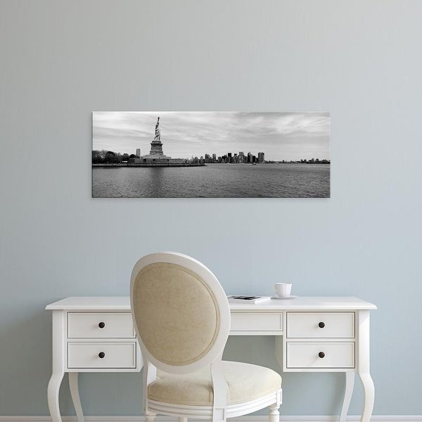Easy Art Prints Panoramic Images's 'Statue Of Liberty, Manhattan, Ellis Island, New Jersey, New York City' Canvas Art