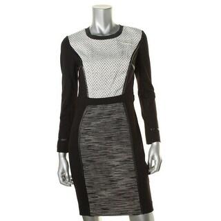 Rachel Roy Womens Mixed Media Faux Trim Wear to Work Dress