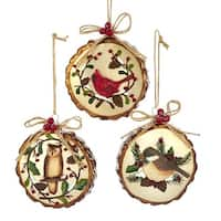 "Pack of 6 Woodland Owl, Cardinal and Chickadee Bird Glass Disc Christmas Ornaments 4"" - brown"