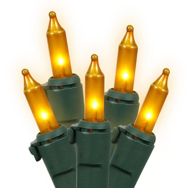 Set of 100 Opaque Gold Mini Christmas Lights - Green Wire