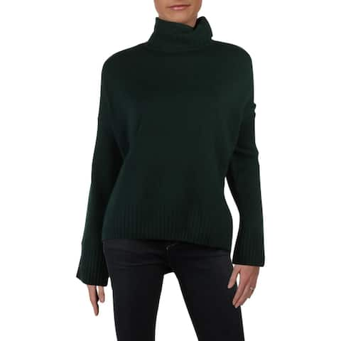 A.L.C. Womens Pullover Sweater Knit Turtleneck - Deep Pine Green - S