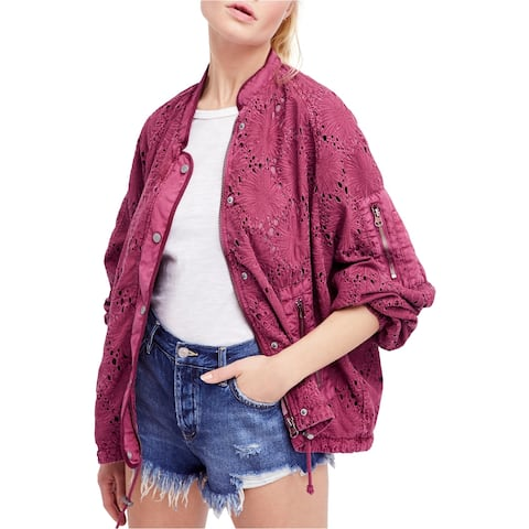 Free People Womens Daisy Jane Bomber Jacket, Purple, Large