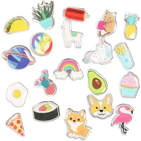 20 Pieces Cute Cartoon Enamel Pins Brooch Set with Assorted Colorful Designs
