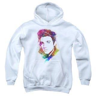 Elvis/Watercolor King Big Boys Youth Pullover Hoodie