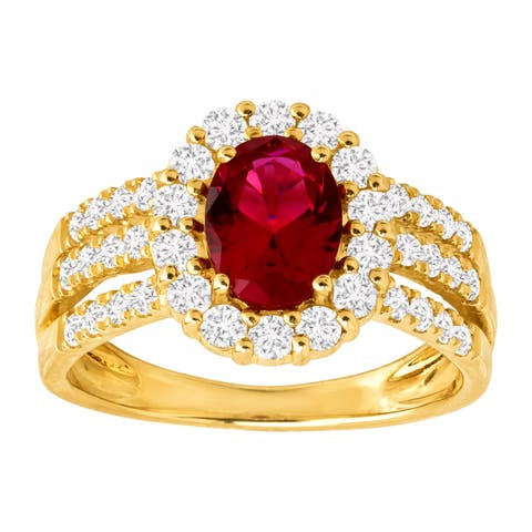 Created Ruby & White Sapphire Ring in 10K White & Yellow Gold - Red