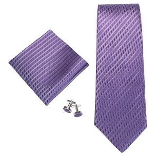 Men's Purple Stripes 100% Neck Tie Set With Hanky 18645