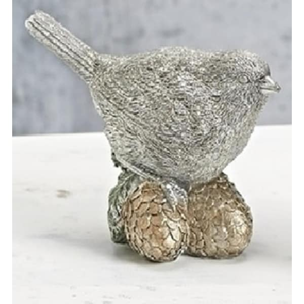 "4.5"" Vintage Platinum Glittered Bird on Pine Cones Christmas Table Top Figure"