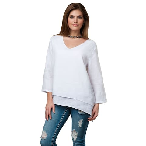 Women's Easy Fit Double Layer Garment Dyed Linen Tunic Top