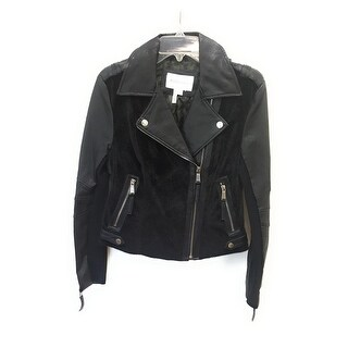 BCBGeneration Faux Fur Leather Jacket, Black, Small