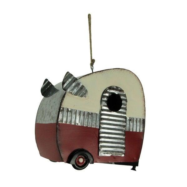 Galvanized Metal Retro Camper Hanging Birdhouse - 6 X 6.25 X 3.25 inches