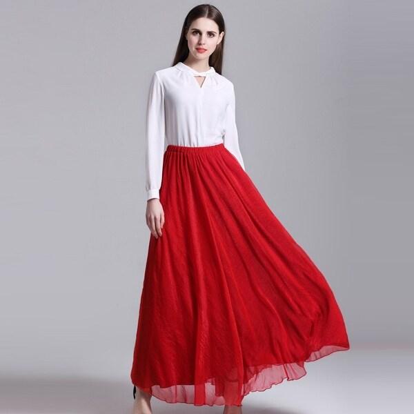 140a80a1b9ef Fashion Summer Bohemian Beach Skirts Women Chiffon Long Skirts Girls  Pleated Maxi tulle Skirts Ball Gown