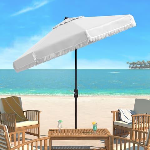 SAFAVIEH Milan Fringe 9-foot Crank White Outdoor Umbrella