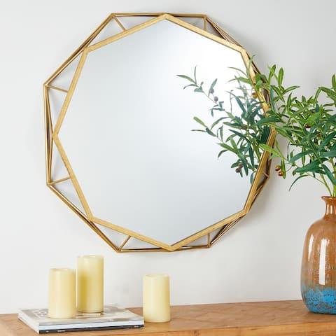 "Glitzhome 28""D Deluxe Golden Octagonal Metal Glass Wall Mirror - 28"""