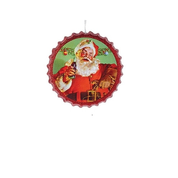 "4.25"" Red Coca Cola Santa Bottle Cap Glitter Christmas Ornament"