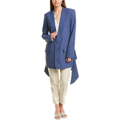 Tibi Suiting Long Linen-Blend Blazer